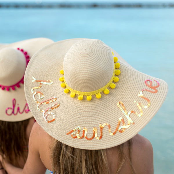 Custom Pom Pom Floppy Sun Hat