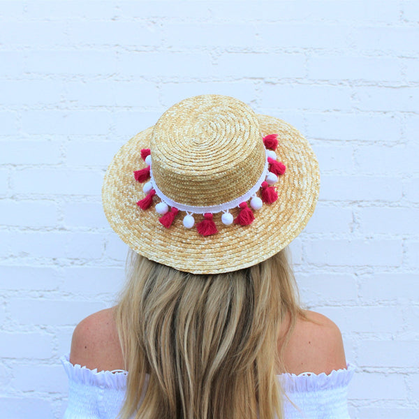 Seaside Pom Pom Boater