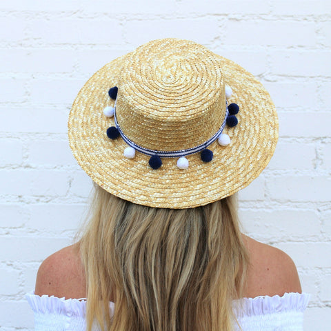 Navy and White Pom Pom Boater