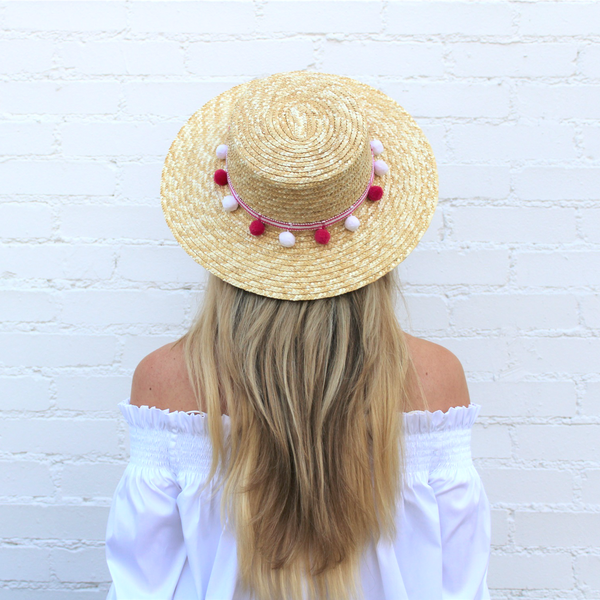 Palm Beach Pom Pom Boater – Hats by Olivia 7cdb7880f7eb
