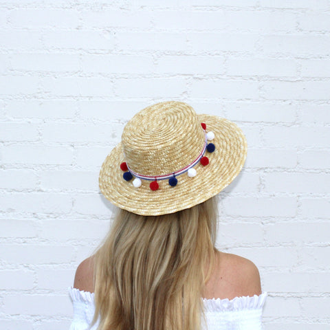Red, White & Blue Pom Pom Boater