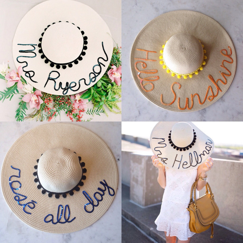 2bce1fcab1f Custom Pom Pom Floppy Sun Hat – Hats by Olivia