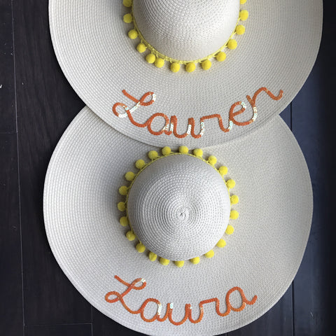 Custom Name Yellow Pom Pom Floppy Sun Hat