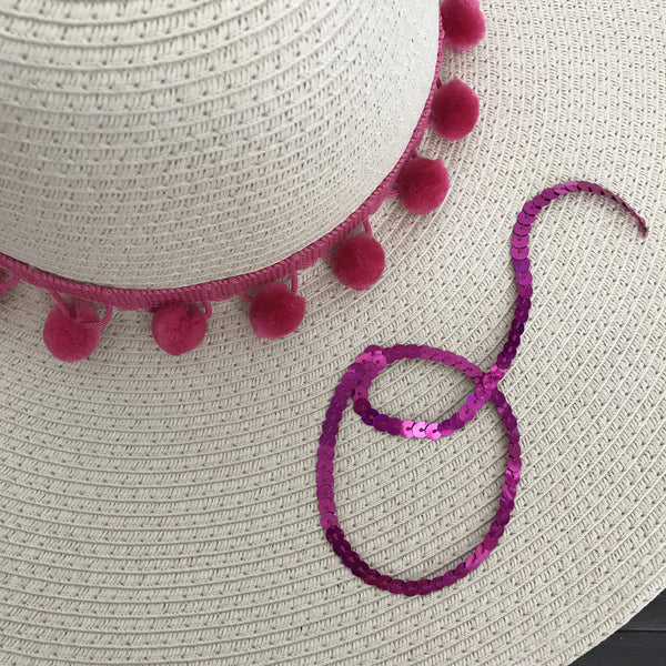 Custom Name Hot Pink Pom Pom Floppy Sun Hat