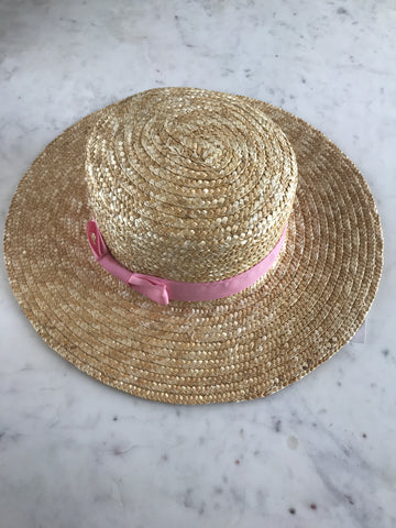 Sample - Positano Boater with Pink Ribbon