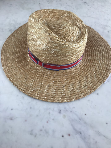 Sample - Paper Straw Panama Hat with Red, Blue, and Gray Ribbon