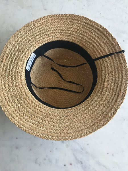 Sample - Raffia Weave Boater with Black Ribbon