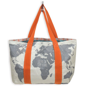 Write-On Travel Tote Bag: World Map