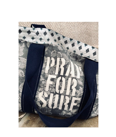 Pray For Surf Distressed Floral Canvas Reversible Tote