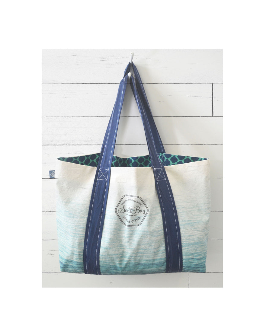 South Bay Logo Canvas Reversible Tote in Ocean