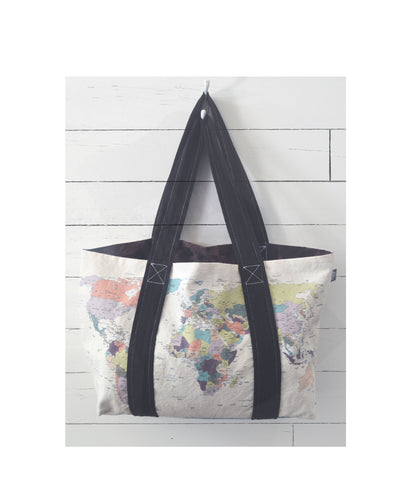 Canvas Reversible Tote, world map