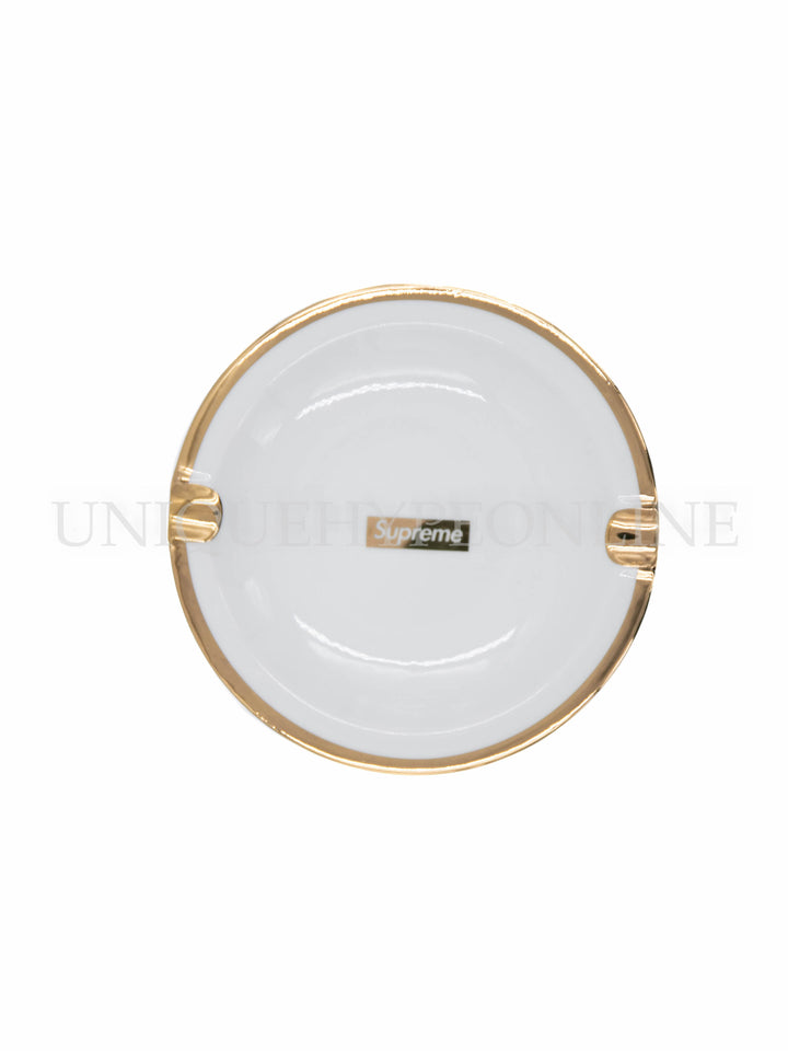 Supreme Gold Trim Ceramic Ashtray FW17 White