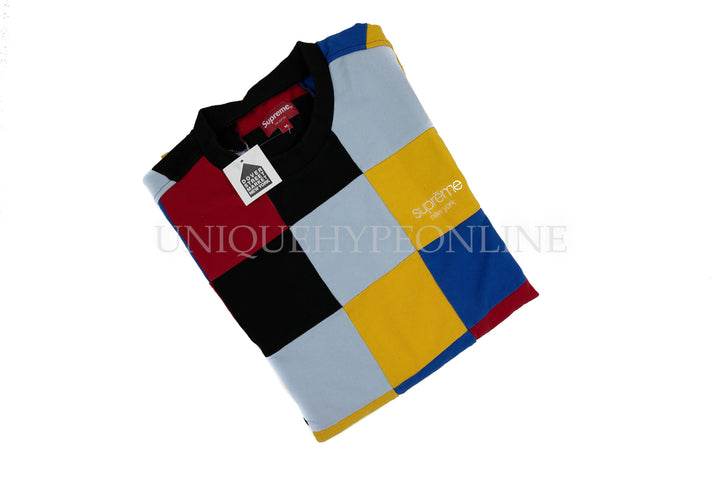 Supreme Patchwork Pique T-shirt FW18 Red/Yellow/Blue