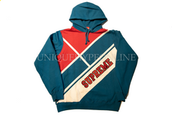 Supreme Diagonal Hooded Sweatshirt Dark Aqua
