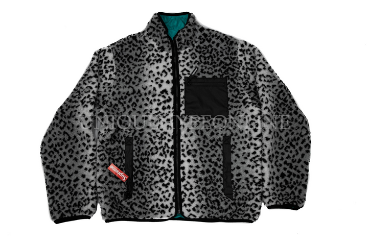 Supreme Leopard Fleece Reversible Jacket FW17 Teal