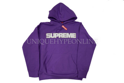 Supreme Perforated Leather Hooded Sweatshirt FW18 Violet