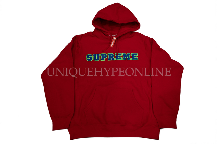 Supreme Cord Collegiate Logo Hooded Sweatshirt SS18 Red