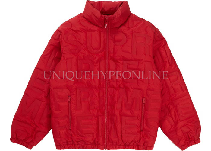 Supreme Bonded Logo Down Jacket SS19 Red