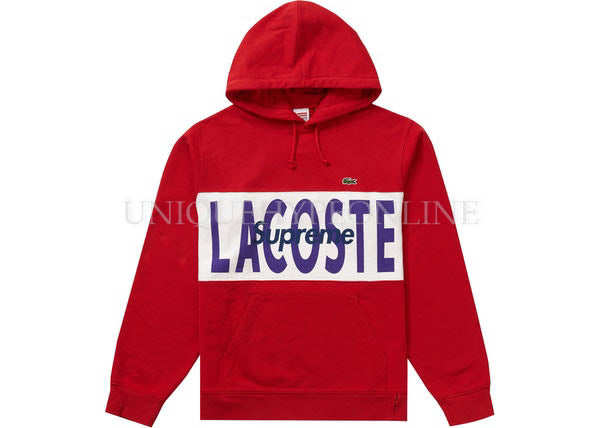Supreme x Lacoste Logo Panel Hooded Sweatshirt FW19