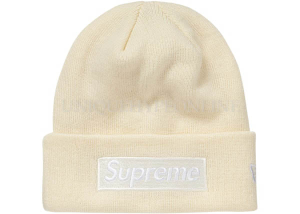 Supreme New Era Box Logo Beanie FW18 Natural