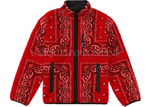 Supreme Reversible Bandana Fleece Jacket FW19 Red