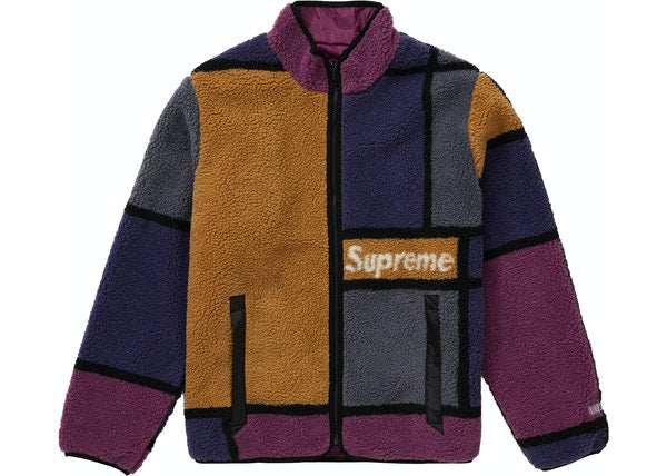 Supreme Reversible Colorblocked Fleece Jacket Purple FW20