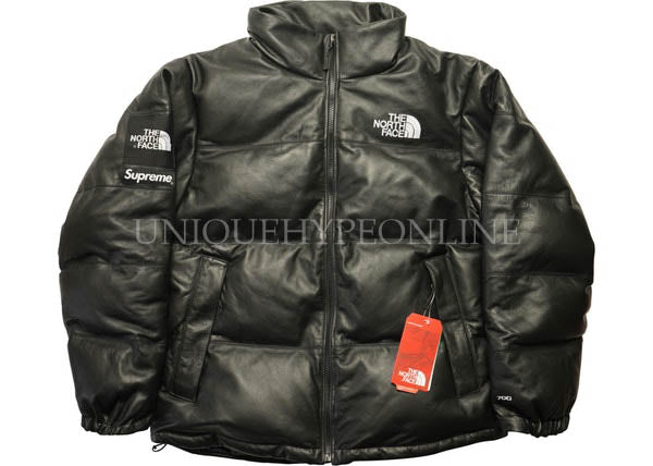 Supreme North Face Leather Nuptse Jacket FW17 Black