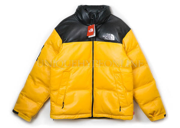 Supreme North Face Leather Nuptse Jacket Yellow FW17