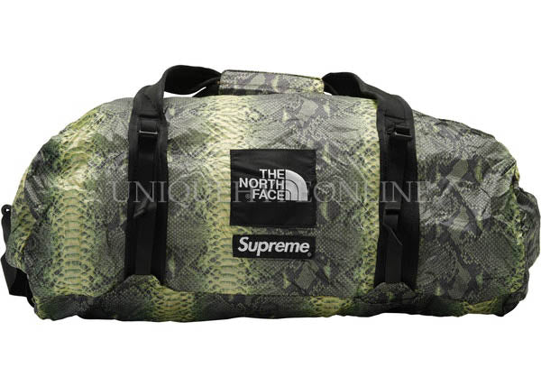 Supreme x The North Face Snakeskin Flyweight Duffle Bag Green SS18