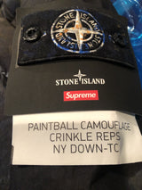 Supreme Stone Island Painted Camouflage Crinkle Down Jacket Dark Teal FW20