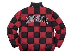 Supreme Checkerboard Puffy Jacket Dark Red FW19