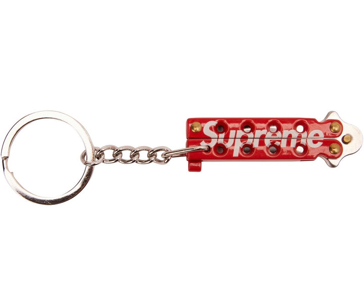 Supreme Butterfly Knife Keychain Red SS15