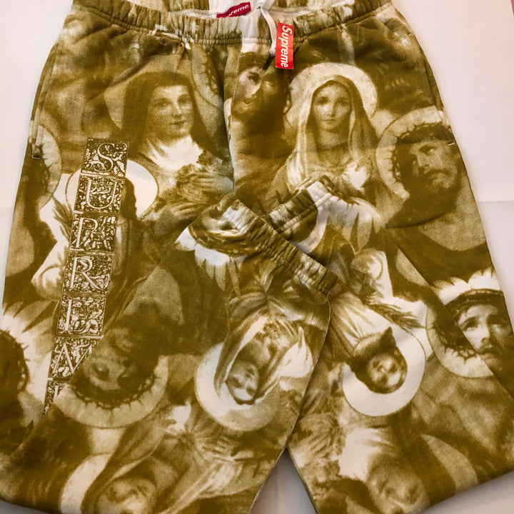 Supreme Jesus and Mary Sweatpants Gold FW18