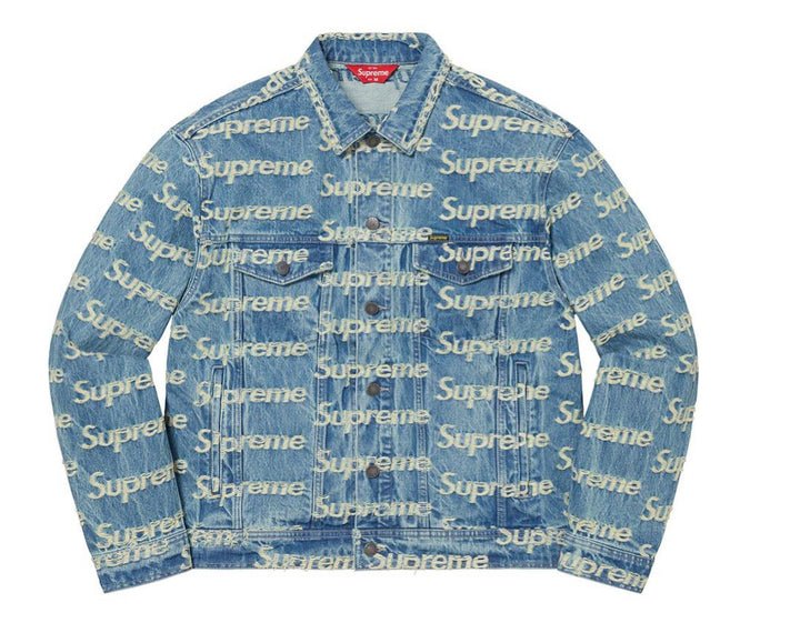 Supreme Frayed Logos Denim Trucker Jacket Blue SS21