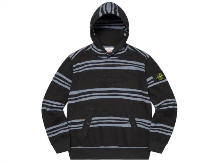 Supreme Stone Island Warp Stripe Hooded Sweatshirt Black FW20