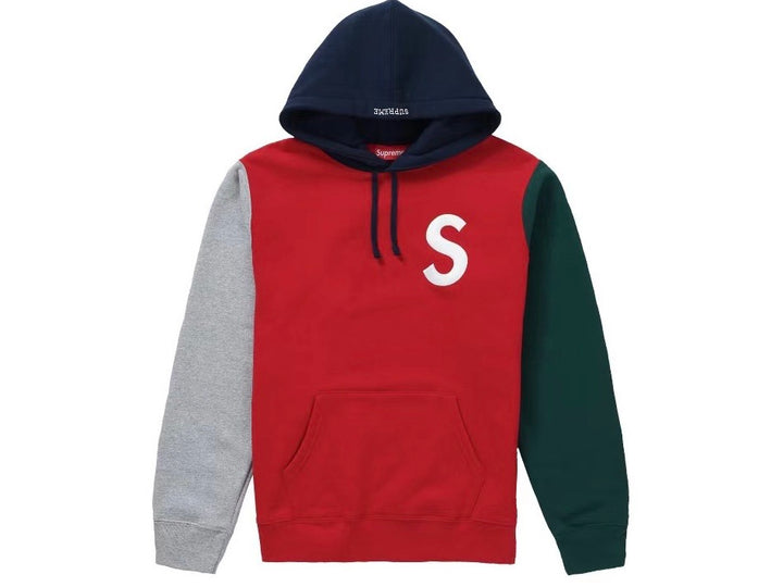 Supreme S Logo Colorblocked Hooded Sweatshirt Red SS19