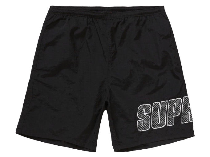 Supreme Logo Applique Water Shorts Black SS19