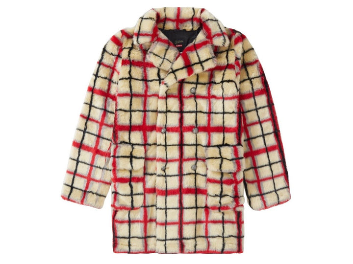 Supreme Jean Paul Gaultier Double Breasted Plaid Faux Fur Coat Offwhite SS19