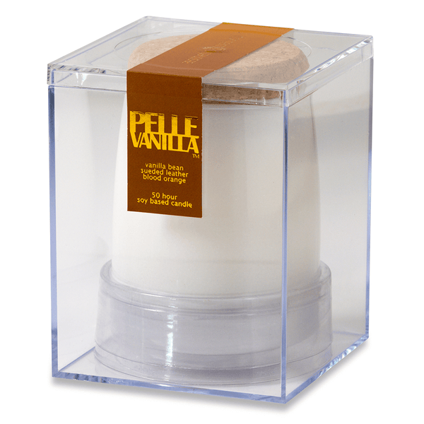 Pelle Vanilla Scented Soy Jar Candle - vanilla, suede, orange, sandalwood