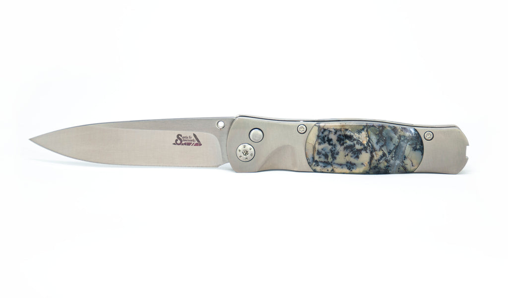 """Tesoro"" Button Lock - Nightwalker Mammoth Tusk with Blue Shadow Anodizing"