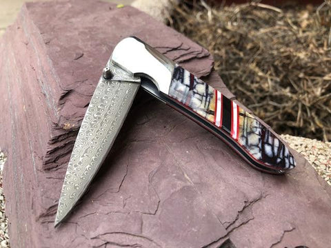 "Damascus - Mammoth and Red G-10 4"" with clip"