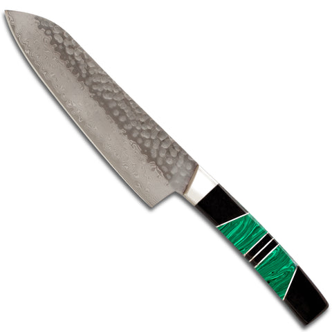"Hammered Damascus Jewelry Collection Santoku 5"" Knife"