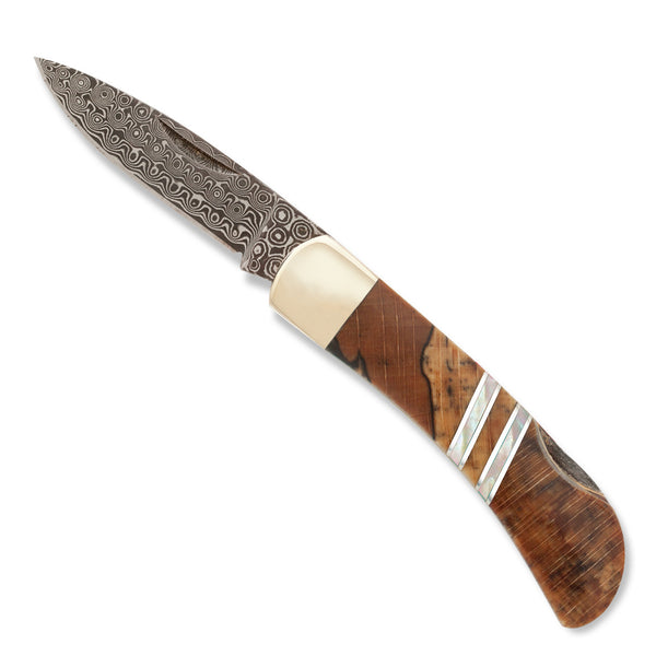 "Damascus Collection Spalted Beech 3"" Lockback Knife"
