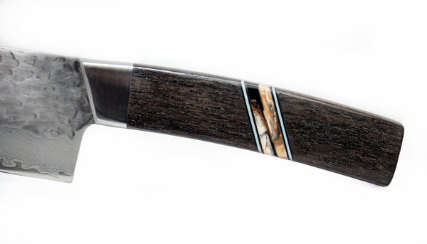 "Santoku 7"" - Hammer Damascus - Ancient Bog Oak with Fossilized Mammoth Tusk strips and White & Black G-10"