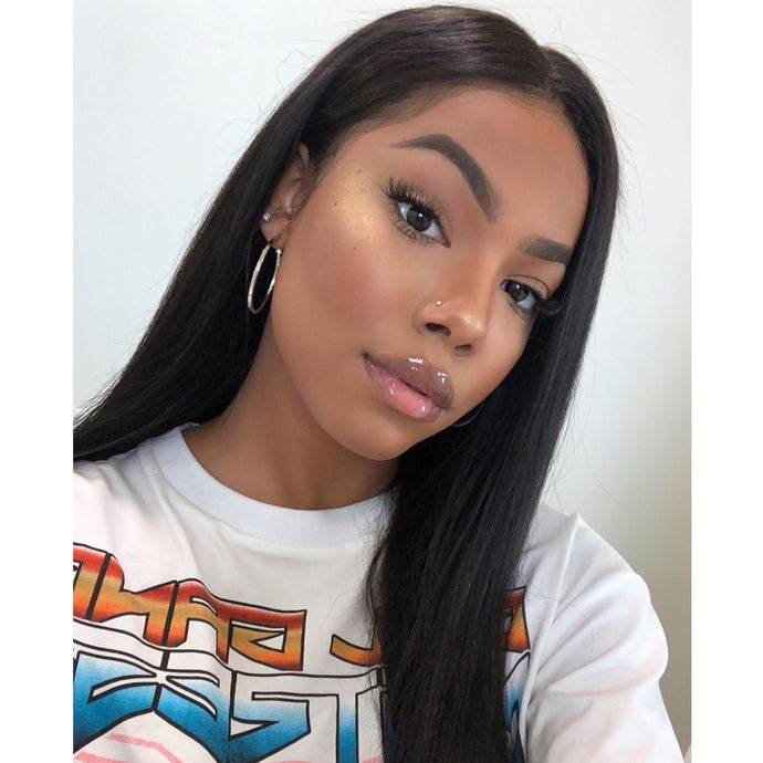 360 Wig Straight Human Hair Pre Plucked Hairline With Full Ends