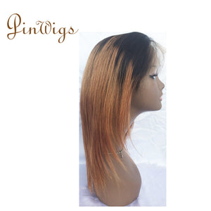 Pinwigs 1B Roots Brown Body Wave/Straight Full Lace Wig , 100% Human Hair, Pre Order take 5-7 Business Days to Customize