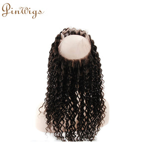 Pinwigs Curly 360 Lace Frontal 100% Human Hair ,Natural Color