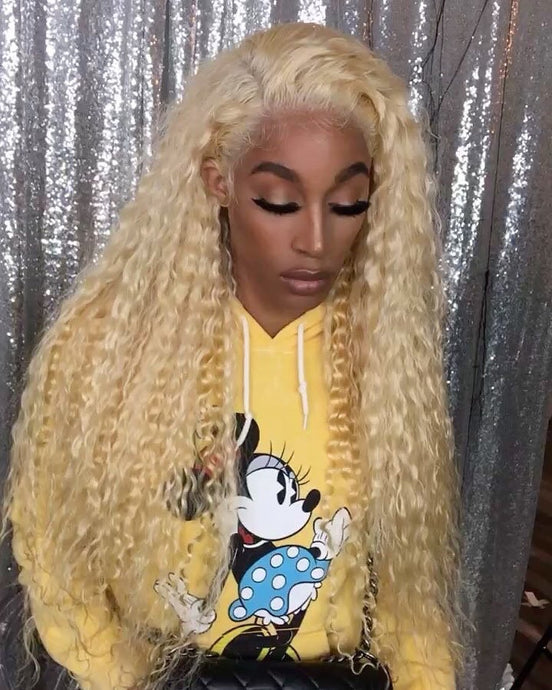 Pinwigs 613 Blonde Curly Hair 3 Bundles With 13*4 Lace Frontal ,Free Shipping