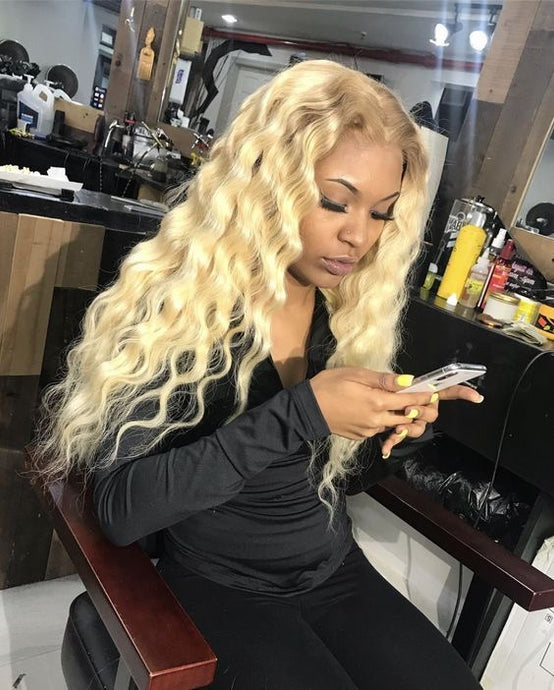 Pinwigs 613 Blonde Curly Hair 3 Bundles With 4*4 Lace Closure ,Free Shipping