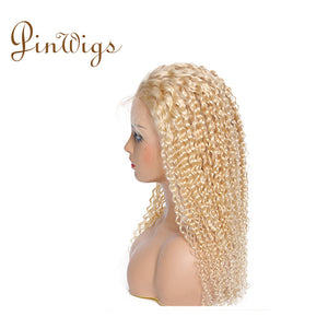 Pinwigs 613 Blonde Hair Curly Full Lace Wig , 100% Human Hair, Pre Order take 5-7 Business Days to Customize